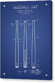 Baseball Bat Patent From 1924 - Blueprint Acrylic Print
