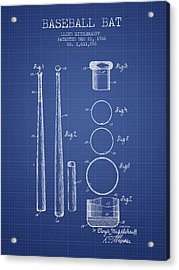 Baseball Bat Patent From 1926 - Blueprint Acrylic Print by Aged Pixel