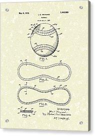 Baseball By Maynard 1928 Patent Art Acrylic Print