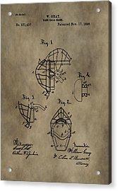 Baseball Catcher's Mask Patent Acrylic Print by Dan Sproul