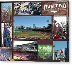 Baseball Collage Acrylic Print by Barbara McDevitt