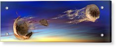 Baseball Coming Apart In Space Acrylic Print by Panoramic Images