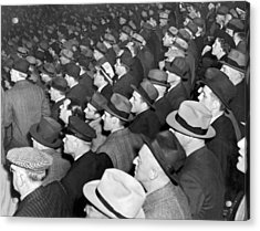 Baseball Fans At Yankee Stadium For The Third Game Of The World Acrylic Print by Underwood Archives
