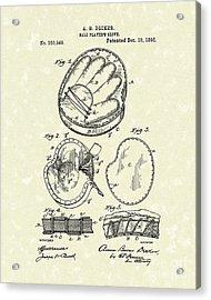 Baseball Glove 1895 Patent Art Acrylic Print by Prior Art Design
