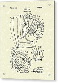 Baseball Glove 1953 Patent Art Acrylic Print by Prior Art Design