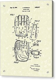 Baseball Glove 1970 Patent Art Acrylic Print by Prior Art Design