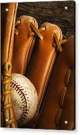 Baseball Glove And Baseball Acrylic Print by Chris Knorr