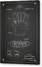 Baseball Glove Patent Drawing From 1922 Acrylic Print