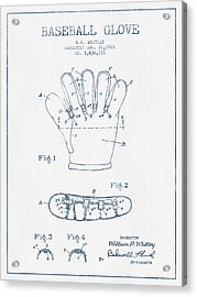 Baseball Glove Patent Drawing From 1922 - Blue Ink Acrylic Print