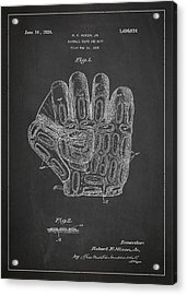 Baseball Glove Patent Drawing From 1923 Acrylic Print by Aged Pixel