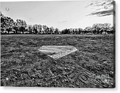 Baseball - Home Plate - Black And White Acrylic Print by Paul Ward