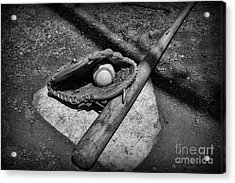 Baseball Home Plate In Black And White Acrylic Print by Paul Ward