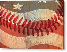 Baseball Is Sewn Into The Fabric Acrylic Print