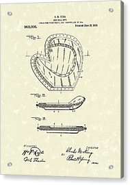 Baseball Mitt 1910 Patent Art Acrylic Print by Prior Art Design