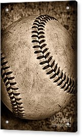 Baseball Old And Worn Acrylic Print by Paul Ward
