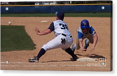 Baseball Pick Off Attempt Acrylic Print by Thomas Woolworth