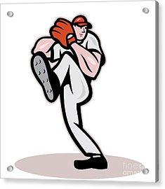 Baseball Pitcher Cartoon Acrylic Print by Aloysius Patrimonio