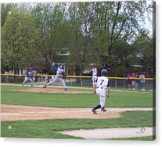 Baseball Pitcher The Delivery Acrylic Print by Thomas Woolworth