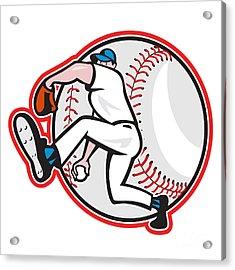 Baseball Pitcher Throw Ball Cartoon Acrylic Print by Aloysius Patrimonio