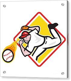 Baseball Pitcher Throwing Fire Ball Diamond Acrylic Print by Aloysius Patrimonio
