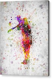 Baseball Player - Taking A Swing Acrylic Print by Aged Pixel