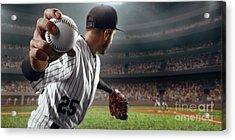 Baseball Player Throws The Ball On Acrylic Print by Alex Kravtsov