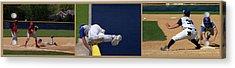 Baseball Playing Hard 3 Panel Composite 02 Acrylic Print by Thomas Woolworth