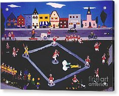 Acrylic Print featuring the painting Baseball Practice by Joyce Gebauer