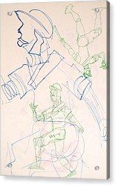 Baseball Set Up Drawing Acrylic Print by Troy Thomas