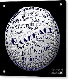 Baseball Terms Typography 2 Acrylic Print by Andee Design