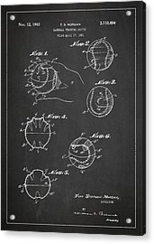 Baseball Training Device Patent Drawing From 1961 Acrylic Print