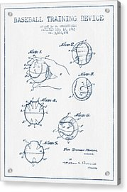Baseball Training Device Patent Drawing From 1963 - Blue Ink Acrylic Print by Aged Pixel