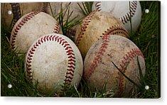 Baseballs On The Grass Acrylic Print by David Patterson