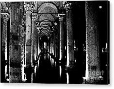 Basilica Cistern In Black And White Acrylic Print