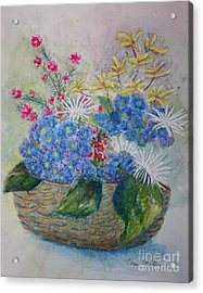Basket Of Flowers Acrylic Print by Terri Maddin-Miller