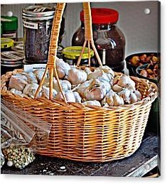 Acrylic Print featuring the photograph Basket Of Garlic by Linda Brown