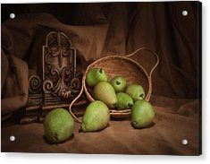 Basket Of Pears Still Life Acrylic Print by Tom Mc Nemar