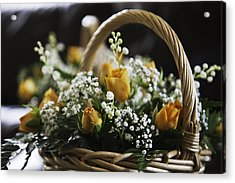 Basket Of Roses Acrylic Print by Lesley Rigg