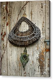 Basket On Weathered Door Acrylic Print