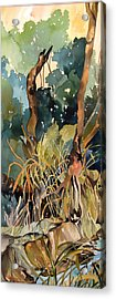 Basket Weave Grasses 2 Acrylic Print by Rae Andrews