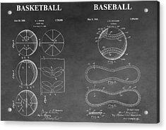 Basketball And Baseball Patent Drawing Acrylic Print