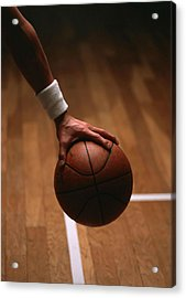 Basketball Ball In Male Hands Acrylic Print by Lanjee Chee