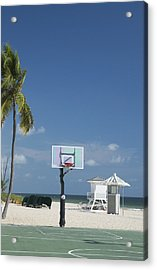 Acrylic Print featuring the photograph Basketball Goal On The Beach by Bob Pardue