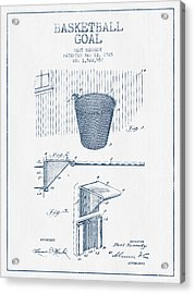 Basketball Goal Patent From 1925 - Blue Ink Acrylic Print by Aged Pixel