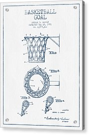 Basketball Goal Patent From 1951 - Blue Ink Acrylic Print by Aged Pixel