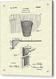 Basketball Hoop 1925 Patent Art Acrylic Print by Prior Art Design