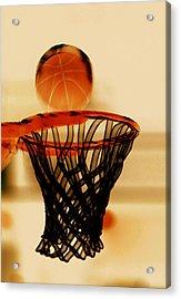 Basketball Hoop And Basketball Ball 1 Acrylic Print by Lanjee Chee