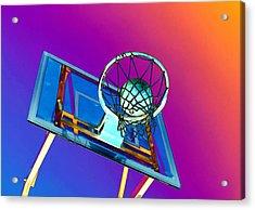 Basketball Hoop And Basketball Ball Acrylic Print by Lanjee Chee