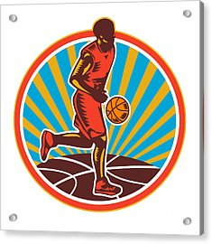 Basketball Player Dribbling Ball Woodcut Retro Acrylic Print by Aloysius Patrimonio