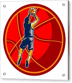 Basketball Player Jump Shot Ball Woodcut Retro Acrylic Print by Aloysius Patrimonio